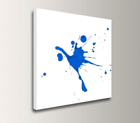 "Blue Abstract Painting - Canvas Decor - Blue and White - Splat Art - ""Impact"""