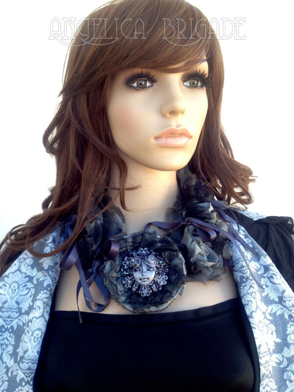 AngelicaBrigade Angelica Brigade Wearable Art Avant Garde Statement Necklace Handmade Bib Necklace Unusual Gothic Lolita La Carmina LaCarmina Art Piece Accessory Accessories Handmade Sculpture Painted Distressed Burnt Fabric h.Naoto Frill