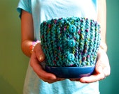 SALE: Blue Knit Plant Pot