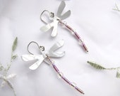 Handmade Beaded Dragonfly Earrings Lavender from Recycled Soda Cans