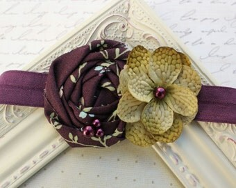 Eggplant Purple rosette headband, purple headbands, newborn headbands, flower headbands, rosette headbands, photography prop