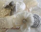 ON SALE/Wedding Garter Set in Silver and Ivory / Silk/ Vintage garters / Lace garters/ Bridal garter/ Ivory garter