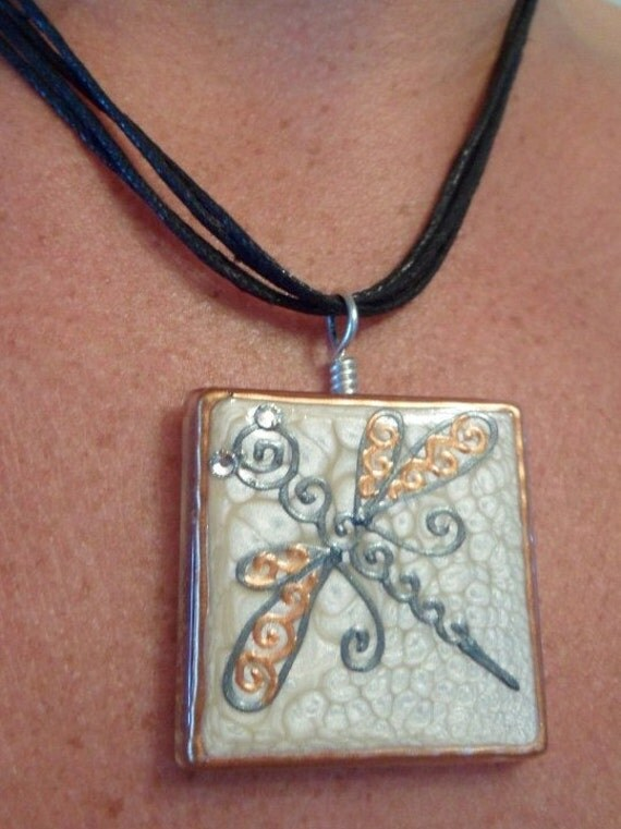 RESERVE LISTING for Paquette. Dragonfly glass pendant with silver filled bail. Mehndi designs. SPECIAL Pricing