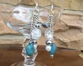 Chain Earrings: bead cluster chain dangle earrings in blue and silver