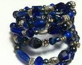 Free Shipping -Beaded Coil Bracelet- Deep Cobalt Blues