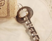 RESERVED FOR MLEA1203 Wine Cork Keychain Vintage Key - Clear and White Rhinestone Marquis Chain
