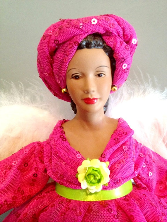 African American Angel in Pink and Green - Free Personalization
