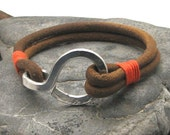 FREE SHIPPING.Men's leather bracelet.Multi strand natural leather bracelet with hammered metal work hook clasp.