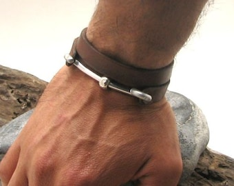 EXPRESS SHIPPING  Personalized bracelet Men's leather bracelet Leather wrap men's bracelet with metal work clasp and silver plated spacer.