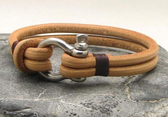 EXPRESS SHIPPING Men's leather bracelet Natural leather multi strand bangle bracelet with silver plated shoehorse clasp