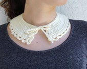 Crocheted Peter Pan Collar / Necklace in Cream, Perfect Holiday Gift, Ready to Ship