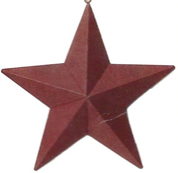 Tin Metal RED Barn Star Sign 5.5 inch Hanging Country Primitive Americana Decor