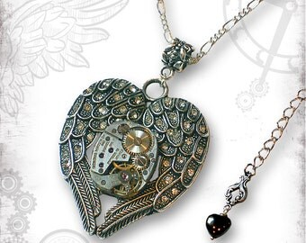 Winged Heart Steampunk Necklace - Za Dee Da - The Time Traveller Collection - Time Enfolded