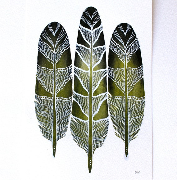 Feather Painting - Watercolor Art - Archival Print Mavi Feathers
