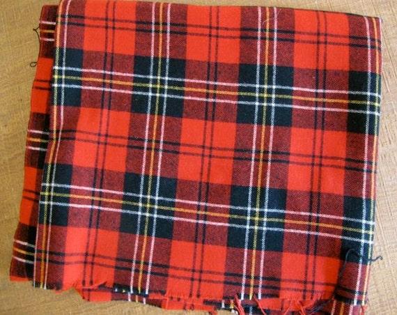 Wool Plaid Fabric Yardage - Red and Black Tartan Fabric - Yardage