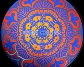 Hand Painted Vintage Abstract Retro Vinyl Record Album Mandala
