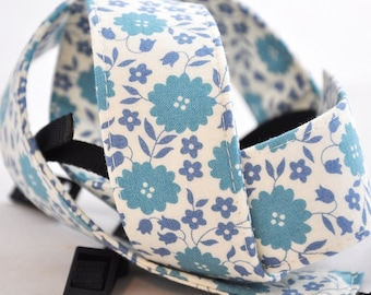 Periwinkle and Cream Floral - SLR Camera Strap - dSLR Camera Strap, Digital Camera Strap, camera strap