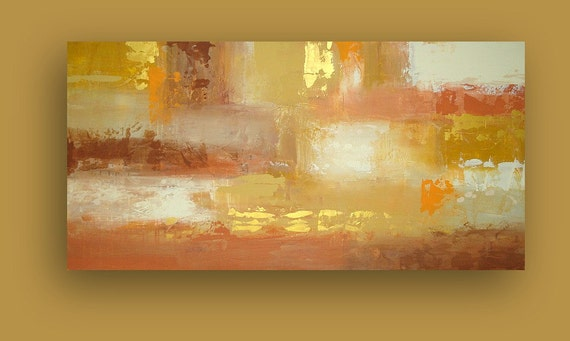 "Abstract Acrylic Painting Fin Art on Gallery Canvas Titled: MIDAS TOUCH 24x48x1.5"" by Acrylic Artist Ora Birenbaum"