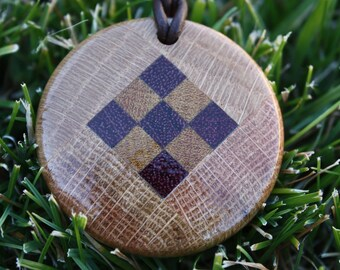 Checkered Wooden Pendant J10