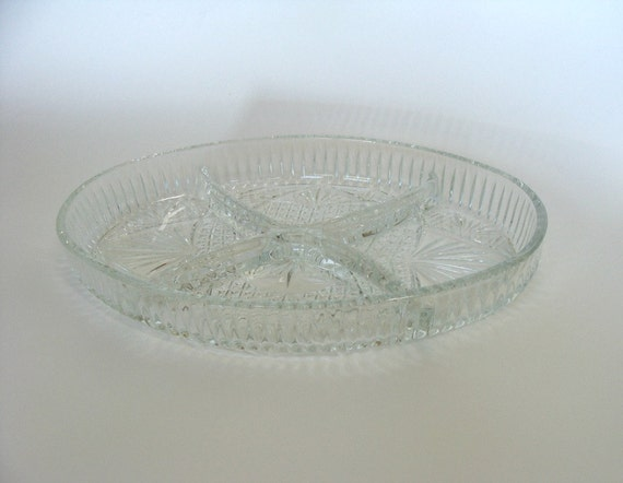 Clear Glass Oval Divided Serving Dish / Four Section Relish Tray