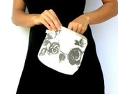 Fold Over Clutch, Evening Bag, Gray and White Purse, Handbag, Cosmetic Bag, Make up Pouch