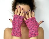 Pink Fingerless Gloves, Pink and purple fingerless gloves, Fall Winter fashion, Womens fingerless mittens, Small