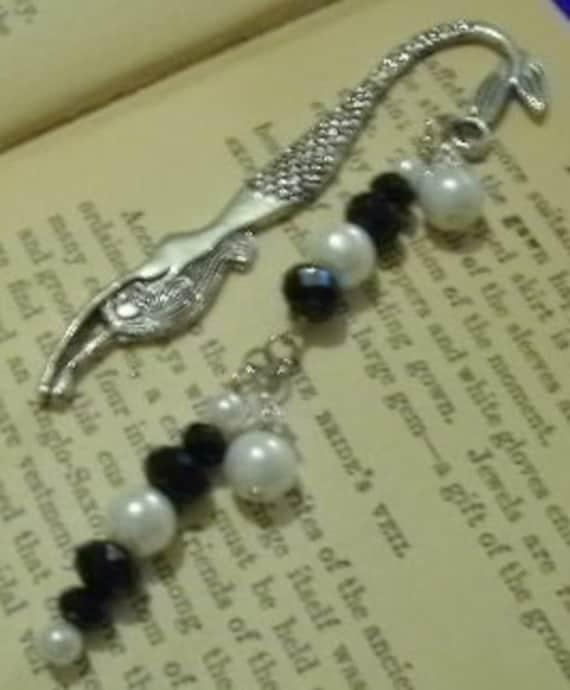 Beaded Mermaid Bookmark -  Black Swarovski Crystals & White Pearls