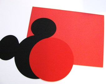 "DIY Invitation Kit w/envelopes- Mickey head with shorts: 30 pack- 5"" Mickey Mouse ear die cuts (BLACK) w/ 15 circles (RED)"
