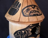 FIRST NATION BIRDHOUSE, A Collectible Birdhouse with Northwest Salmon Motif