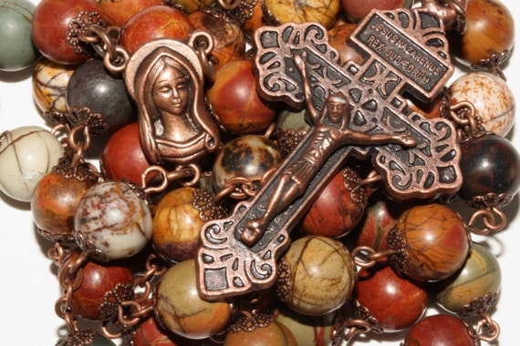 Huge 10mm Picasso Jasper and Copper Bead Rosary Handmade in Oklahoma Catholic