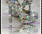 5.5 inch closed toe pump assorted crystal swarovski fancy stones crazy high heel shoes