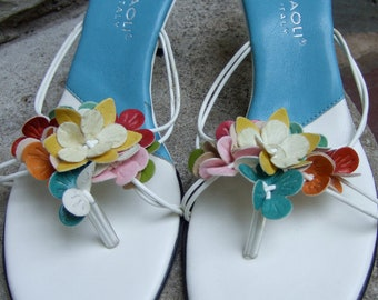 Flower Applique Vintage White Leather Sandals Made in Italy