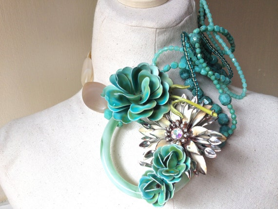 Wedding Necklace RESERVED for MeL with Vintage Flower Brooches in Turquoise featuring Cluster Beaded Statement Necklace by ZILLAS QUEEN