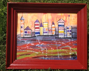 """ORIGINAL Watercolor Painting """"City"""" in Red Frame"""