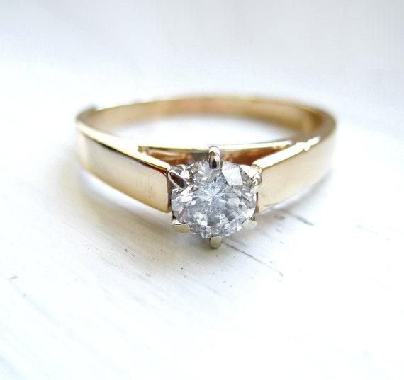 0.50 Carat Estate Diamond Solitaire 14kt Yellow Gold Round Brilliant Engagement Anniversary Ring