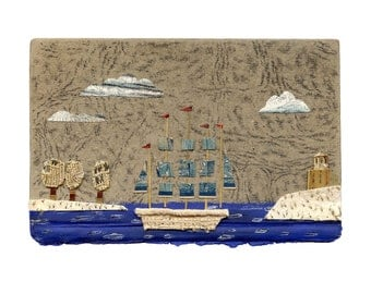 Clipper ship 6 original mixed media collage altered book, print