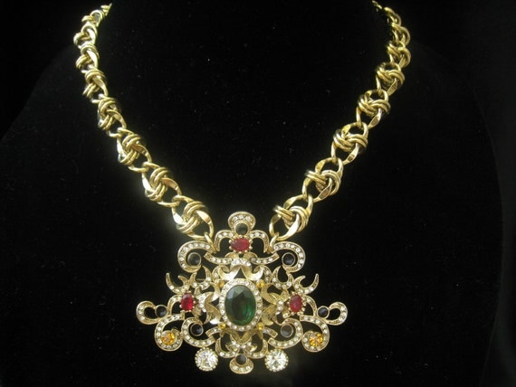 Crown Jewels Assemblage Rhinestone and Gold Necklace OOAK by Creative Capers