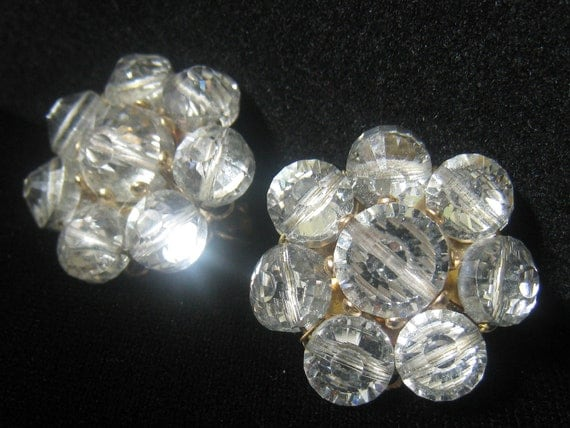 RESERVED for V. Vtg CASTLECLIFF Cluster Bead Earrings have Crystal Beads with Foiled Back Facets to Enhance Brilliance