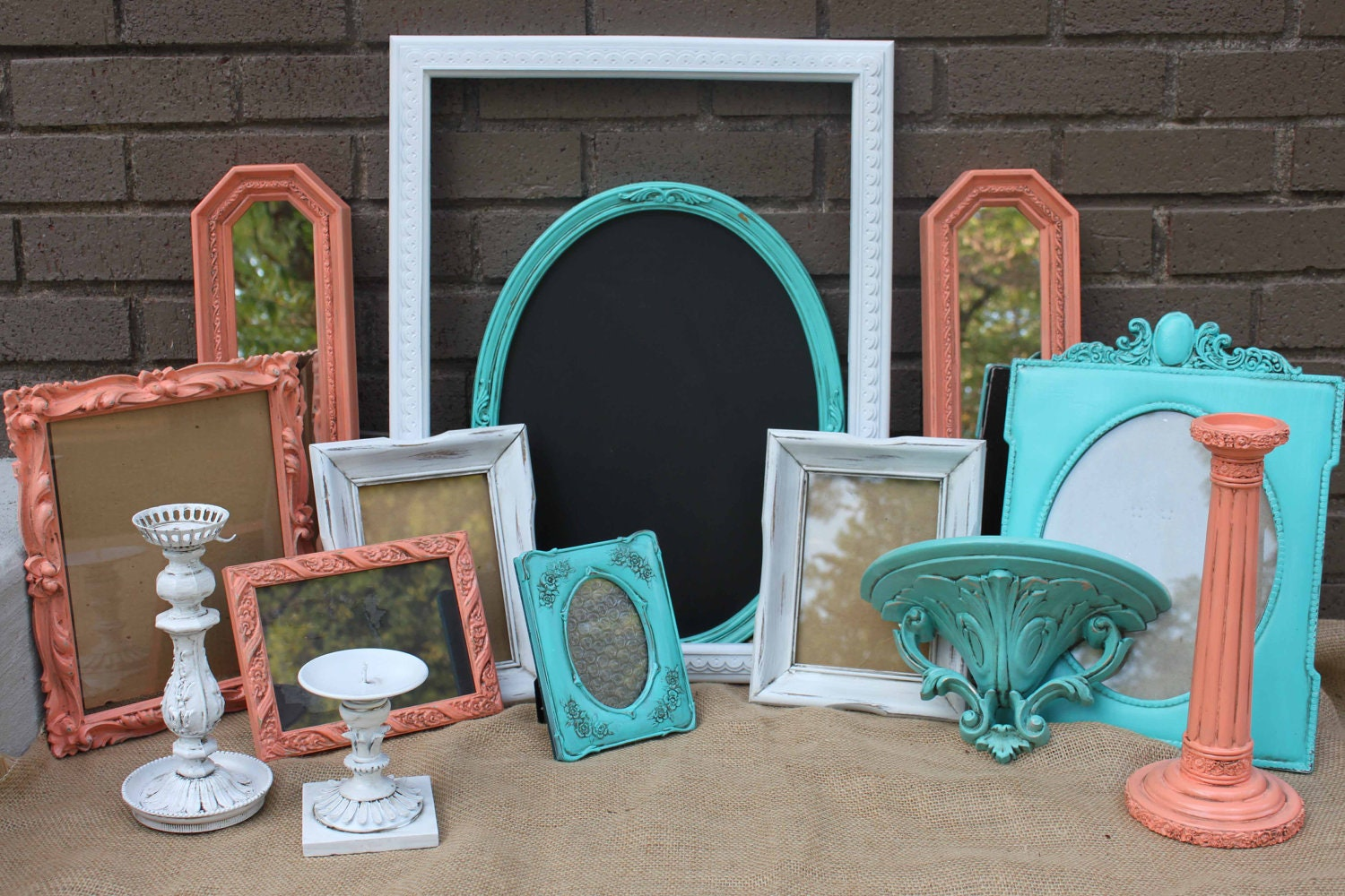 Vintage Turquoise Coral White Frame Grouping Home Decor