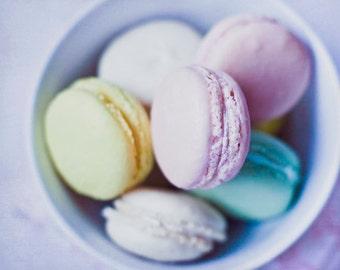 Food Photography - Kitchen Art - Macarons - Nursery - Dining Room Decor - French - Fine Art Photography Print - Pink Purple Home Decor