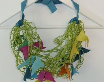 Crocheted Paper Yarn and Leather Leaves Fiber Art Necklace