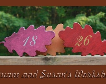 """Autumn Leaves Oak 6"""" Wedding Table Numbers, Wooden, Wedding reception, Painted"""
