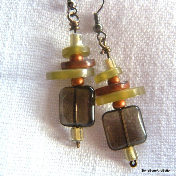 Earrings, Square Smoky Quartz, Beads,and Pearly Buttons , Light Sage Green, Rich Brown, Copper accents, Neutrals, Dangling Earring.