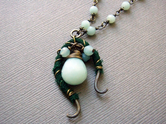 Teardrop Amazonite and Dark Green Fabric-Wrapped Pendant with Brass Oxidized Chain and Handmade Clasp