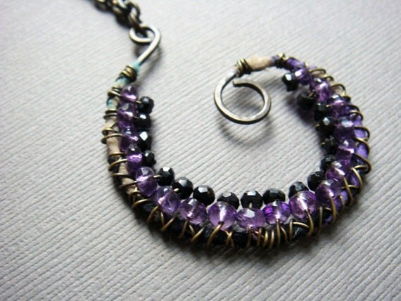 Amethyst and Black Spinel-Wrapped Spiral Pendant on Oxidized Brass Chain