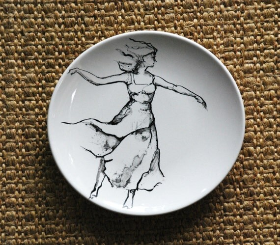 Hand painted Female black and white on round porcelain plate. Modern art painting/ Figurative/ Flowing/ Female/ Woman/ Dance/ Movement