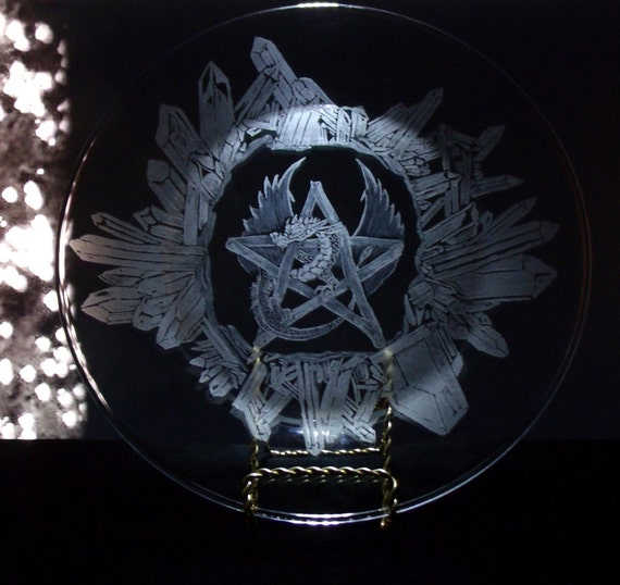 Dragon pentacle / pentagram pagan offering plate, hand engraved with crystal accents. yule , samhain , beltane , solstice free shipping