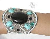 Crystal Wedding Cuff Bracelet / Statement cuff Bracelet - Black onyx Turquoise Gemstone Bracelet  Bead embroidery Vintage Luxury Couture