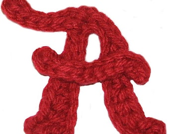 "Alabama ""A"" Crochet Applique Pattern (Instant Download)"