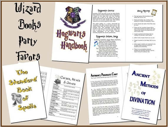 3 Wizard Books Party Favor Set DIY Printable INSTANT DOWNLOAD